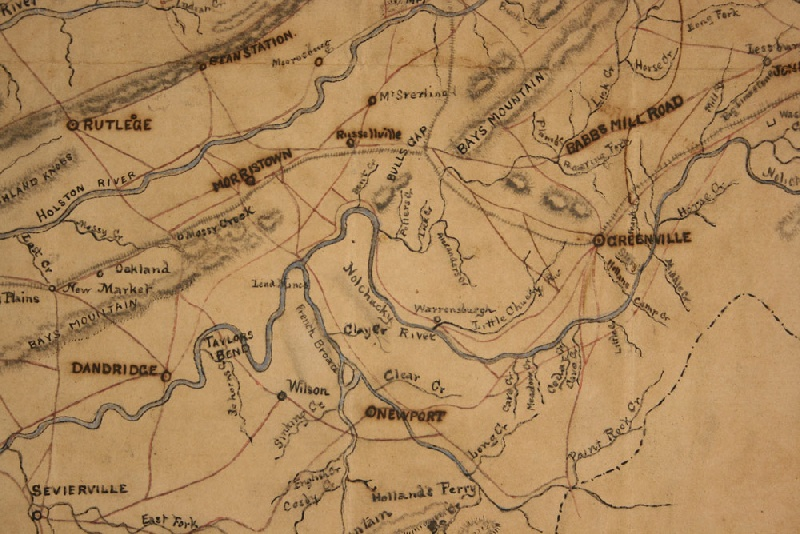 East Tennessee Civil War period manuscript field map – red, blue, & black ink