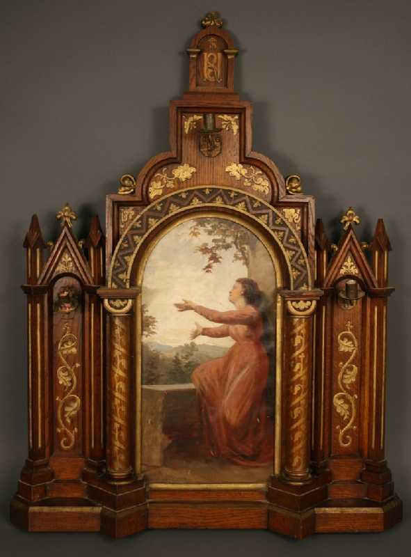 Carved ecclesiastical oak altar piece with central panel painting