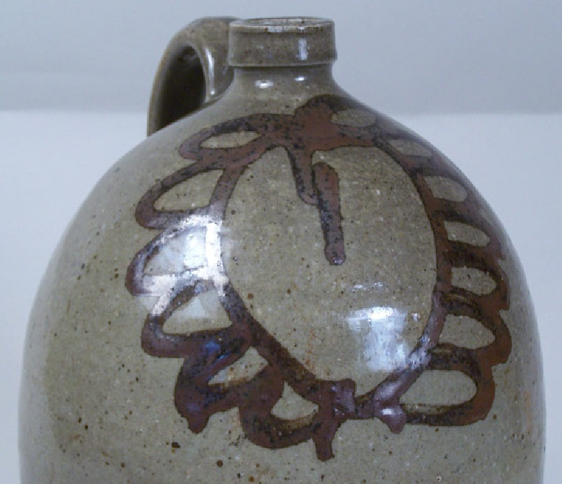 Exceptional Edgefield South Carolina jug with slip decoration (lot#80)