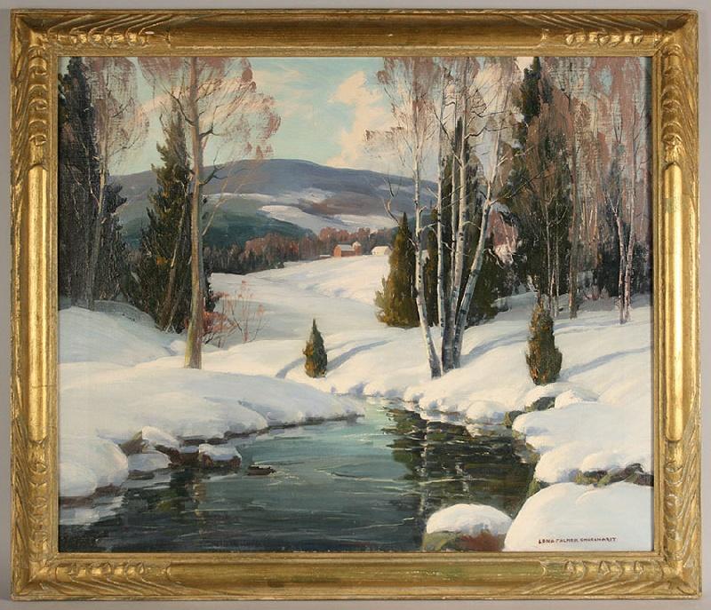 Winter landscape oil on canvas by Edna Palmer Engelhardt (American, 1897-1991)