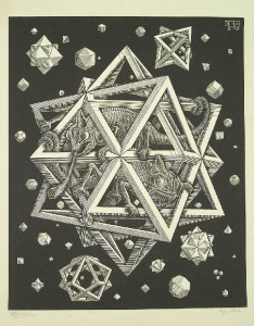"""Lot 195: Exceptional M. C. Escher (1898-1972) """"Stars"""", signed engraving, 1948"""