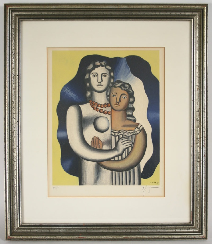"Fernand Leger (French, 1881-1955) signed color lithograph of ""Les deux figures"". Mallonee estate."