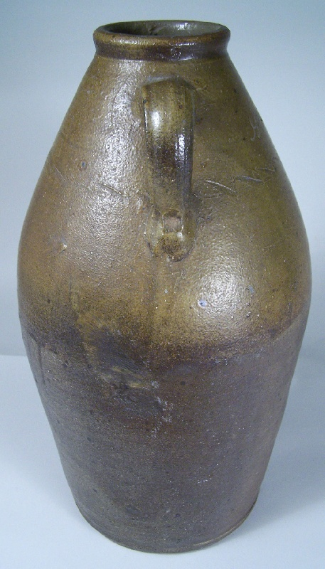 "Middle Tennessee stoneware jar, signed in script ""G W Dunn"", sine wave incising (lot#18)"