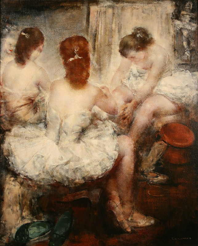 "Grigory Gluckmann oil, titled ""Dressing Room"""