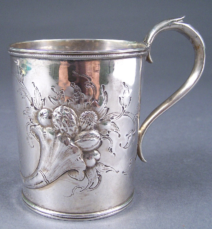 Gorham Coin Silver Mug, incriptions for the Overton family