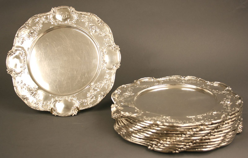 Set of twelve (12) Gorham sterling silver serving plates