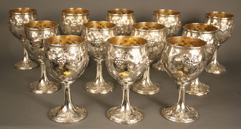 Set of 12 Gorham sterling silver goblets, grape & cable pattern. Gorham date mark for 1917.