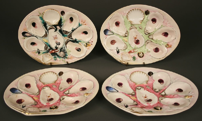 Union Porcelain Works majolica oyster plates, total of 4