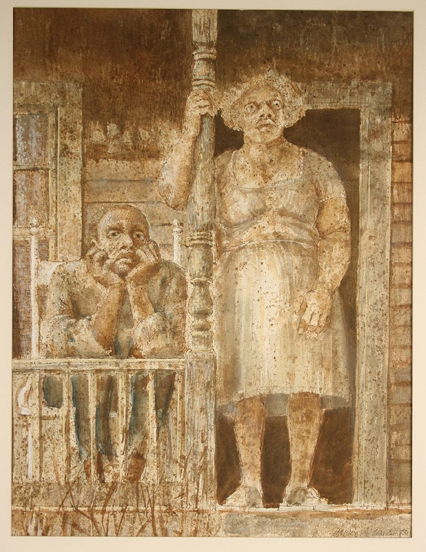 Watercolor of two black adults on a front porch by Harry Davis