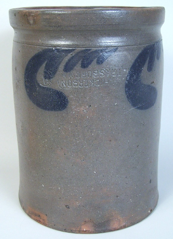 Virginia cobalt decorated jar, stamped Hickerson (lot#171)