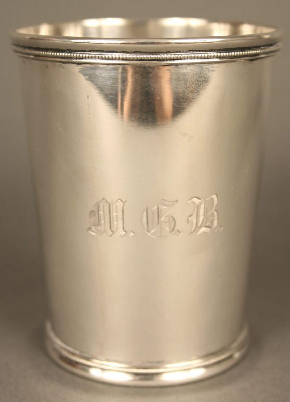 "Kentucky coin silver mint julep cup, marked ""Henderson Union & Hopkins AGL ASSo  H Hudson Louisvillle""."