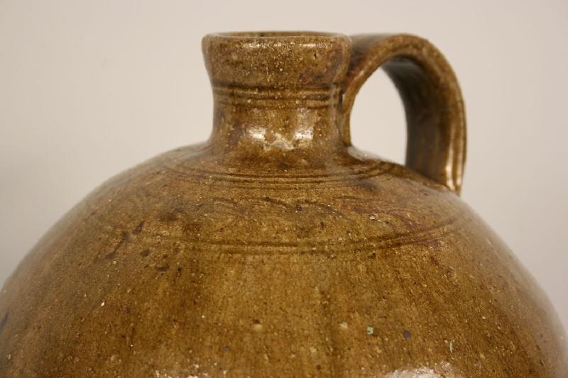 North Carolina alkaline glazed jug with sine wave, stamp of Nelson Bass