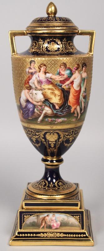Royal Vienna porcelain covered urn, signed S. W. Rosner