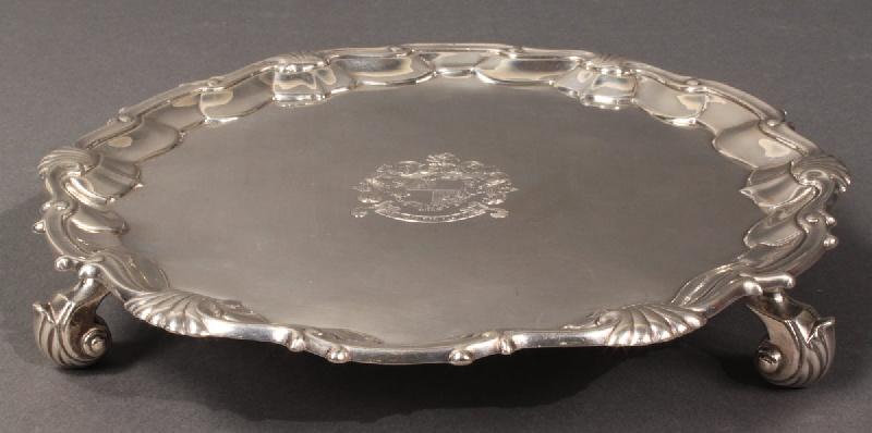 Silver salver, hallmarks for William Justice, London, 1747