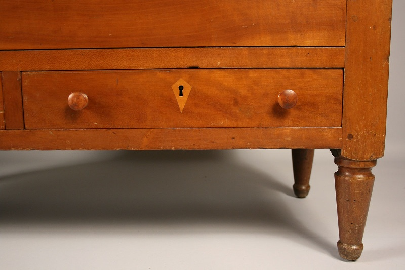 Retangular cherry sugar chest with two drawers and inlaid escutcheons, attrib. Kentucky