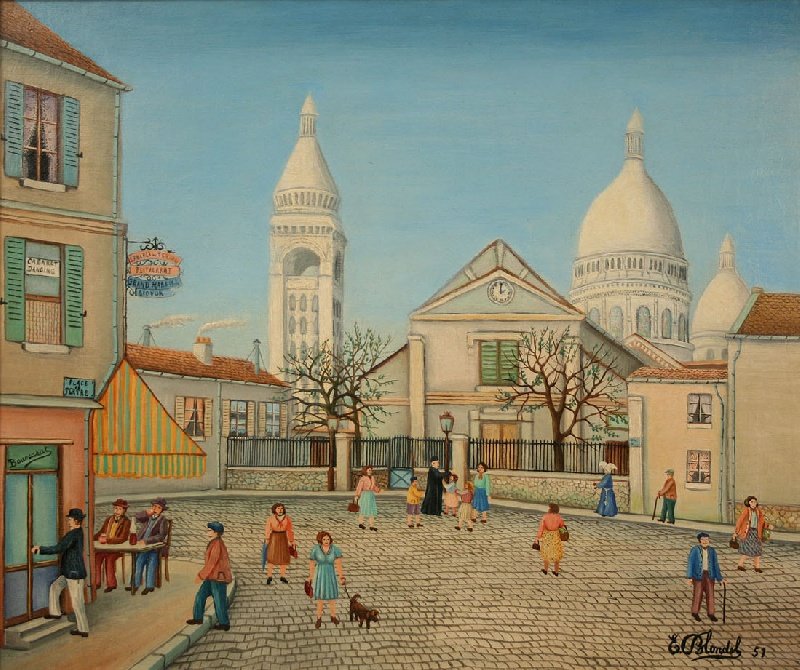 Emile Blondel (French, 1893-1970) oil on canvas of French street scene