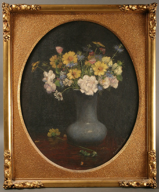 Tennessee Oil on board of vase with flowers by Cornelius Hankins (TN, 1864-1946)