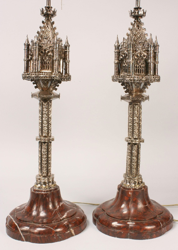 Pair of Gothic Revival style lamps or Judaica spice towers