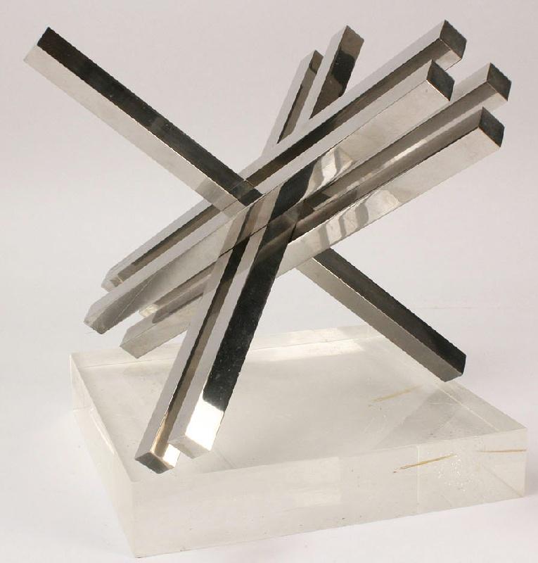 "Max Bill (1908-1994) chrome sculpture, ""Doublement"""
