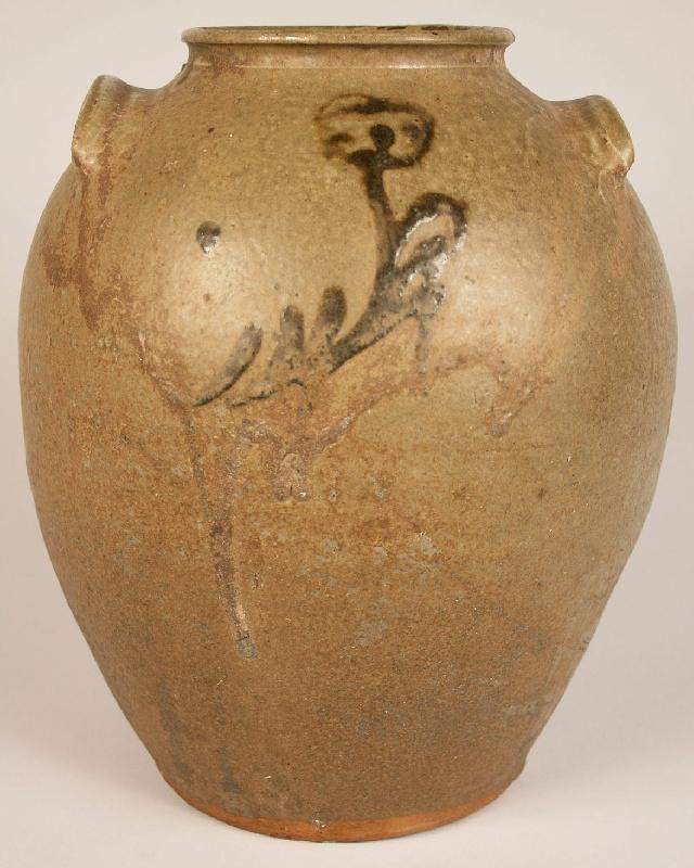 Edgefield SC alkaline glazed jar, broken stem flower decoration