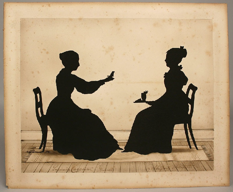 Silhouette of seated women and bird, Auguste Edouart