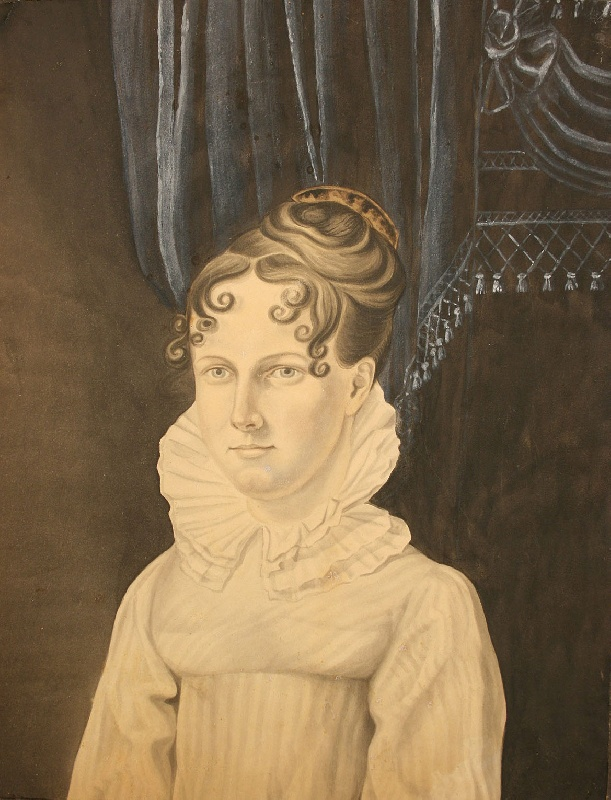 Watercolor portrait of young woman, New Jersey subject c. 1810