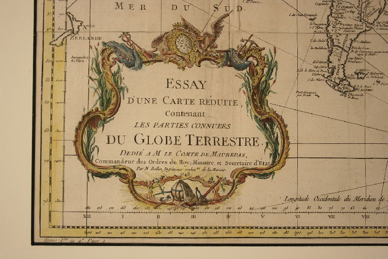 Bellin Antique 1748 World Map, French