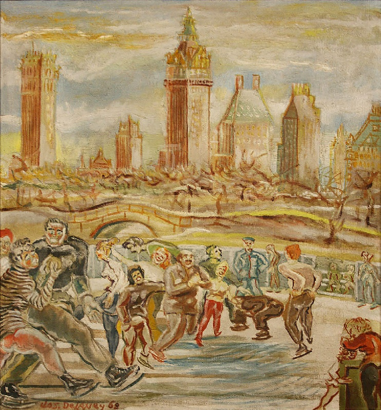 """An oil on masonite by Joseph Delaney (New York/Tennessee, 1904-1991), """"Central Park Skating"""""""