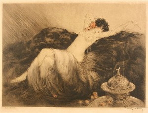 "Louis Icart colored etching, ""Smoke, Fumee"", Paris blind stamp - Image 1"