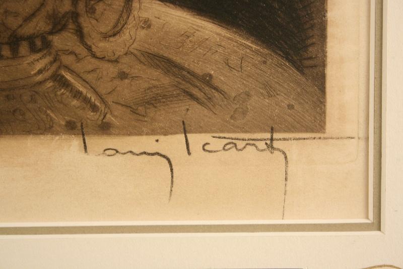 """Louis Icart colored etching, """"Smoke, Fumee"""", Paris blind stamp"""