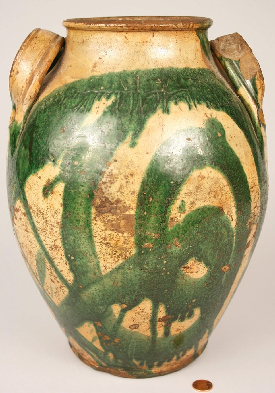 East Tennessee decorated redware jar, stamped C. A. Haun