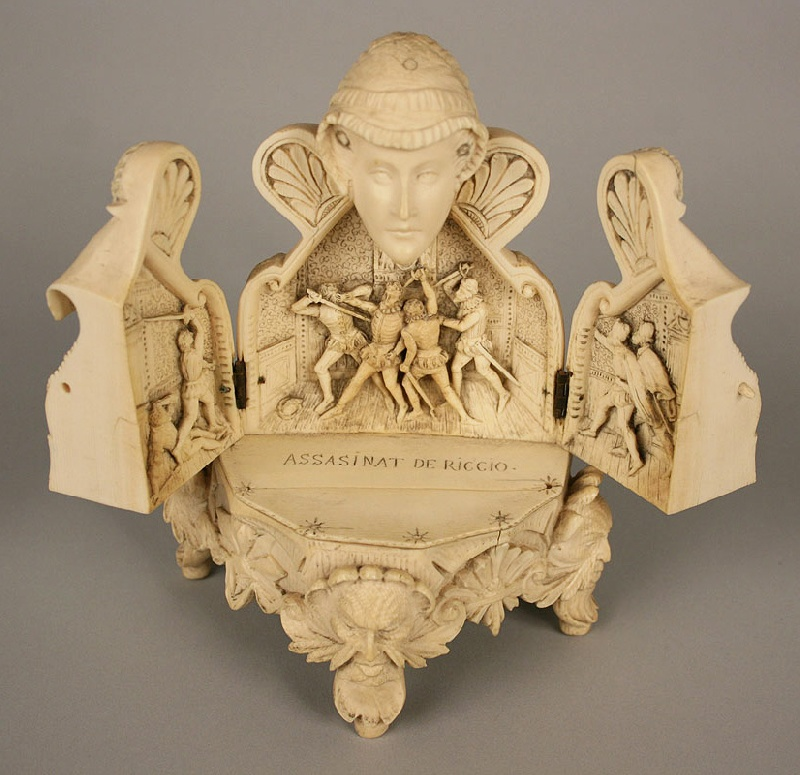 Carved ivory of Mary, Queen of Scots, with triptych interior