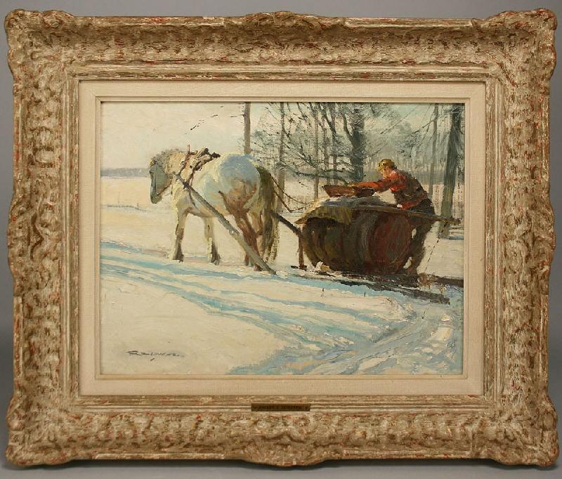 Robert Lougheed winter landscape oil on board