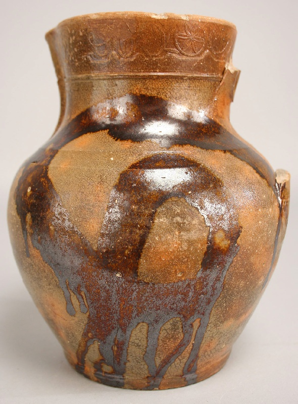 Greene Co., Tennessee redware pitcher, stamped C.A. Haun