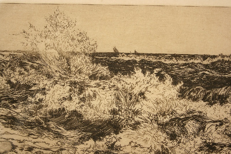 Etching of marine scene by Thomas Moran (1837-1926)