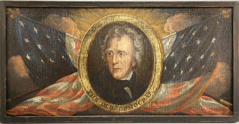 Andrew Jackson patriotic portrait on board with flags