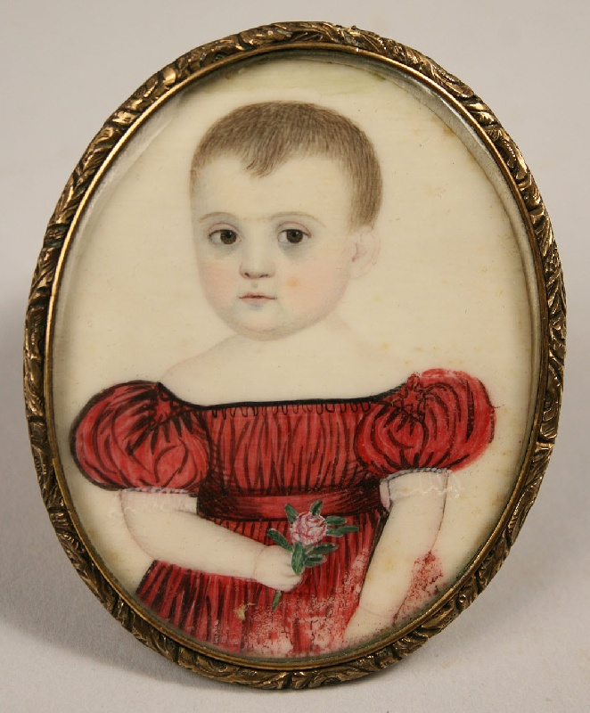 Early American miniature on ivory of child in dress