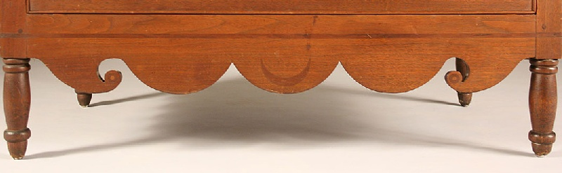East Tennessee diminutive inlaid chest of drawers, signed on back,  Knoxville, TN