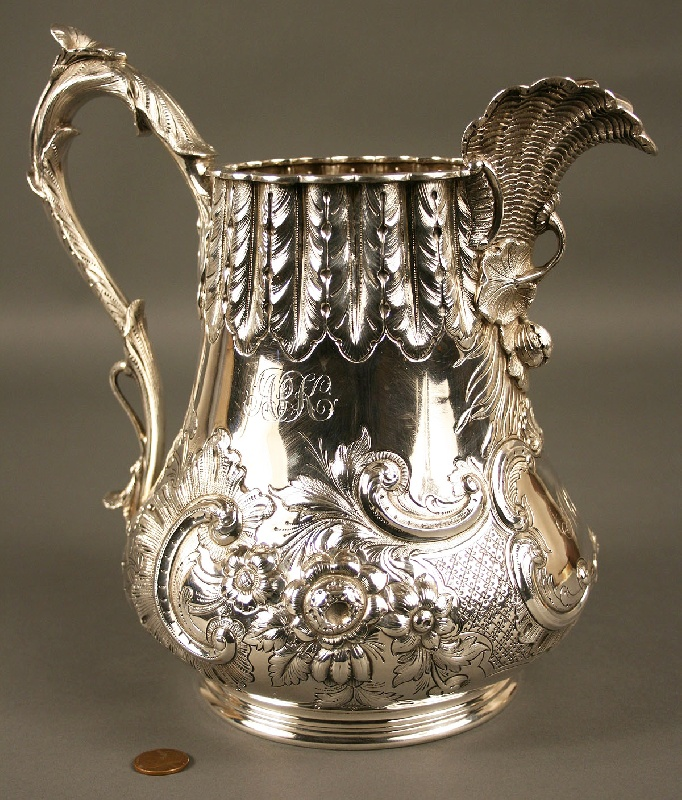 Coin silver pitcher, Southern history, marked J.E. Caldwell, Philadelphia