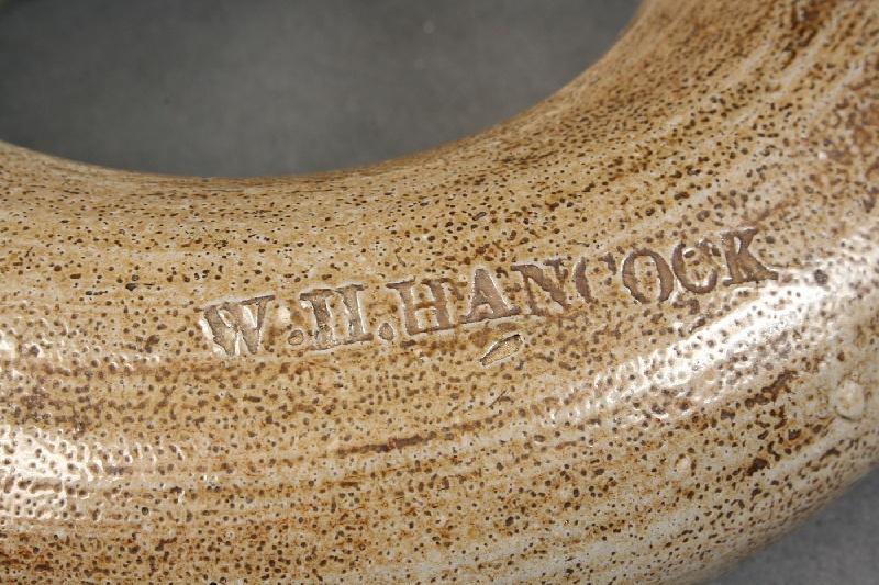 "North Carolina stoneware ring jug, marked ""W. H. Hancock""  (Randolph Co., NC 1845-1924)"