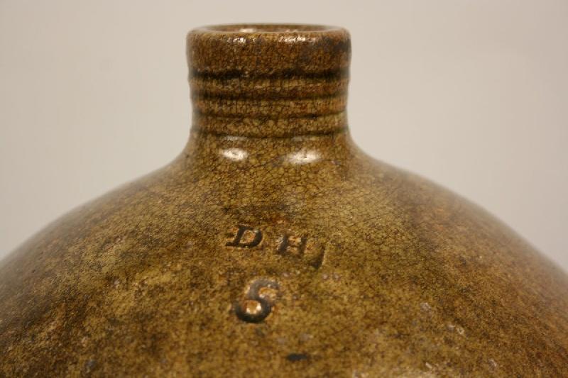 """Large North Carolina alkaline glazed jug, stamped """"D H 5"""", Daniel Hartsoe"""