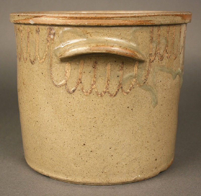 Rare Edgefield decorated jar & lid, both marked Chandler Maker