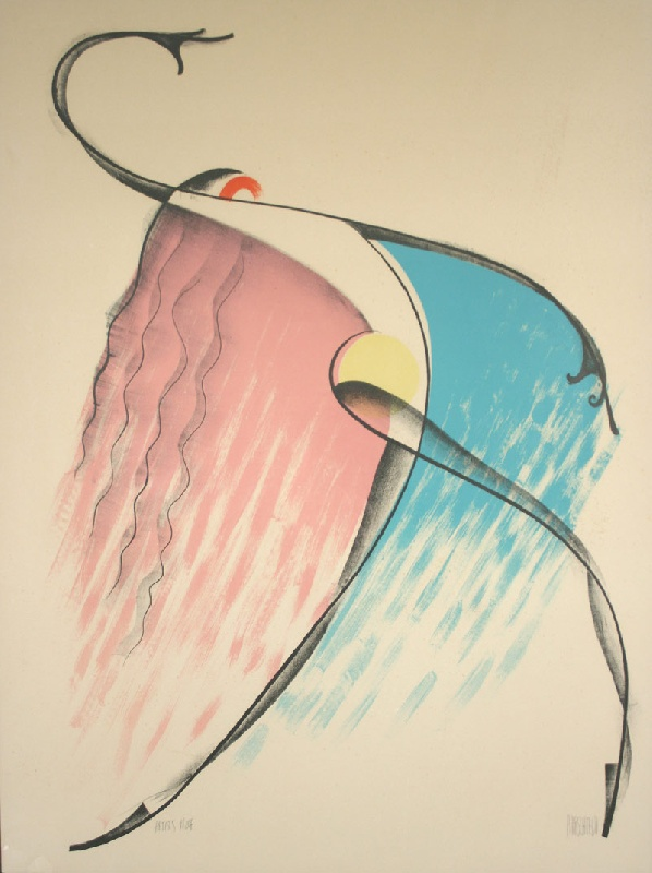Color lithograph of Isadora Duncan by Al Hirschfeld (1903-2003). Mallonee estate.