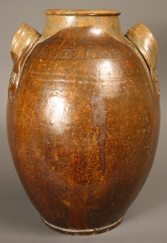 Exceptional and rare Greene County, TN redware jar, marked,  J.A. Lowe