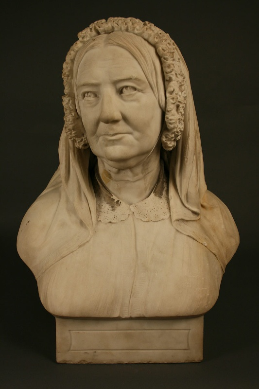 Marble bust of woman by John Adams Acton (English,  1834-1910)