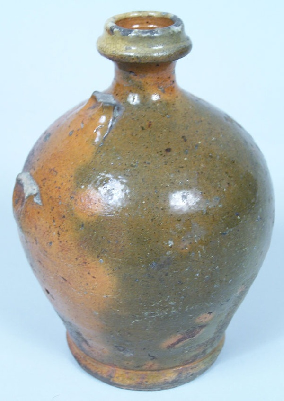 "North Carolina small redware pottery jug, stamped ""J L""  (lot#42)"