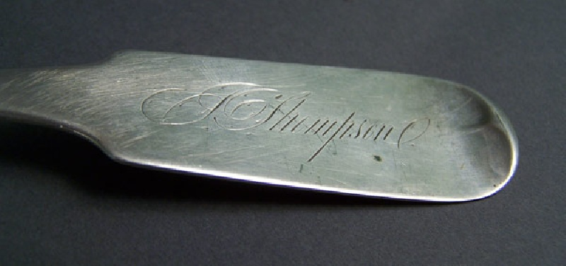 Tennessee silver serving spoon by J. Campbell, monogram of John Thompson, builder of Glen Leven