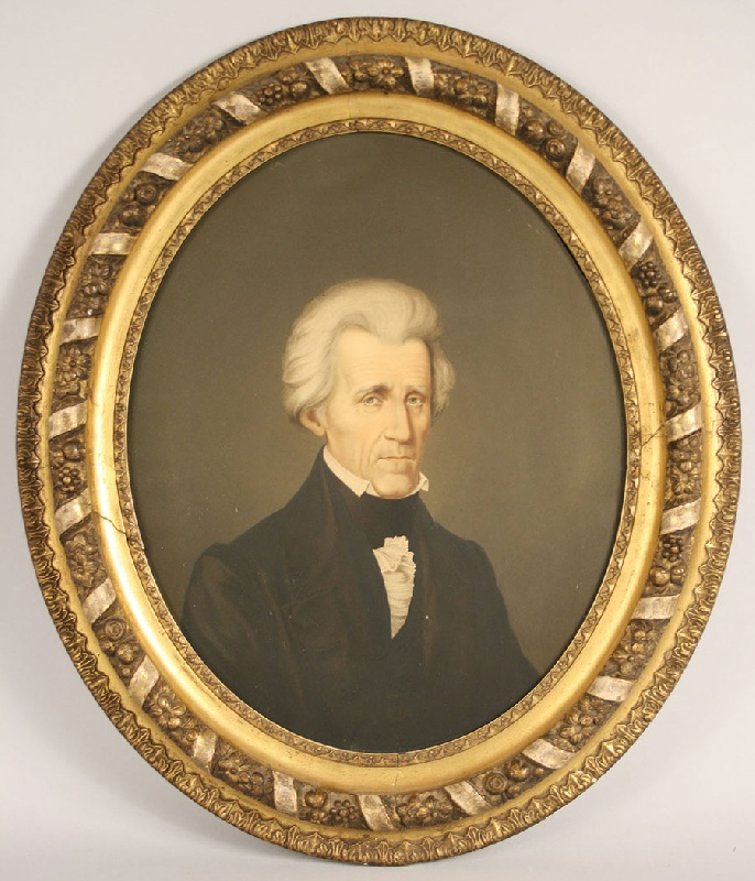 Early framed chromolithograph on canvas of Andrew Jackson, F. C. Middleton, 1861