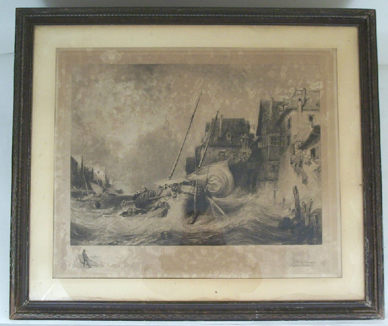 Large harbor storm etching by John Henry Hill (1839-1922) (lot#190)