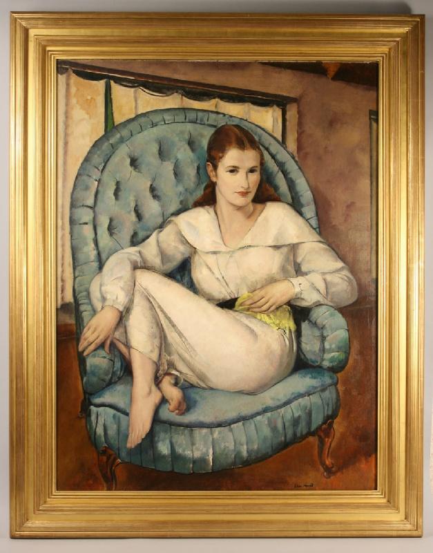 An oil on canvas portrait by Leon Kroll (1884-1974)